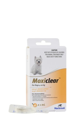 MOXICLEAR Flea & Worming Spot Treatment 4-10kg Dog 6 Pack