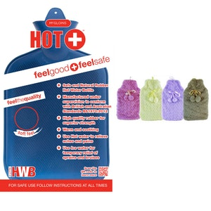 Boutique Medical 2L HOT WATER BOTTLE with Hearts Fleece Cover Winter Warm Natural Rubber Bag - ACCC Approved