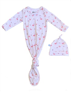 Keep Me Cosy® Baby Knotted Gown + Hat in Luxurious Bamboo Fabric - Flamingo