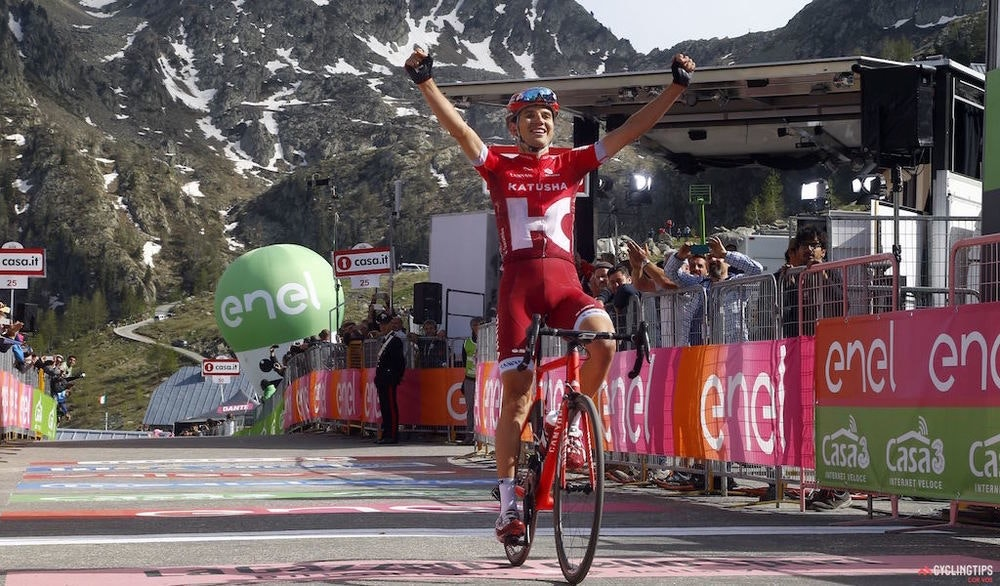 Rein Taaramae  Katusha  winner of  Stage 20 of the 2016 Giro d Italia