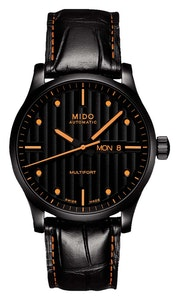 Mido Multifort Special Edition - Stainless Steel with Black PVD - Interchangeable Black & Orange Leather Strap