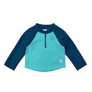 i play. Long Sleeve Zip Rashguard Shirt-Navy & Aqua Colourblock