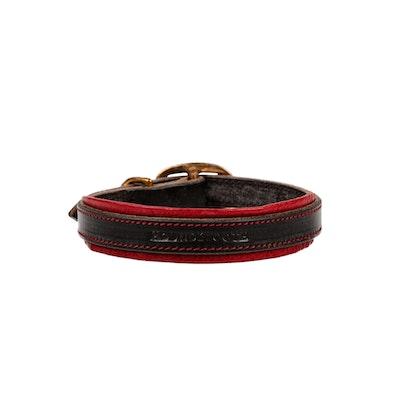 HOUNDZTOOTH Elegant Houndz Dog Collar Valentino Red & Black Leather