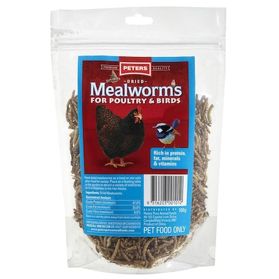 Peters Dried Meal Worms Snack for Poultry & Birds 100g