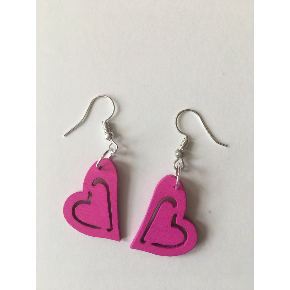One of a Kind Club Pink Heart Earrings