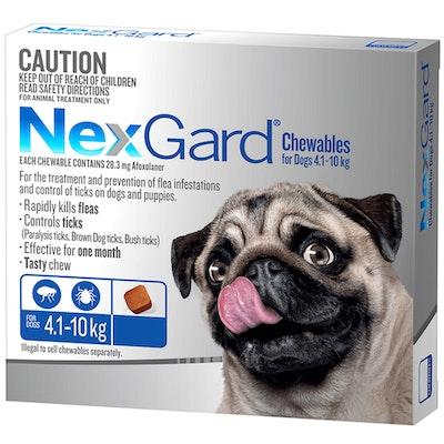 NexGard Small Dogs Tasty Chews Tick & Flea Treatment 4.1-10kg - 2 Sizes