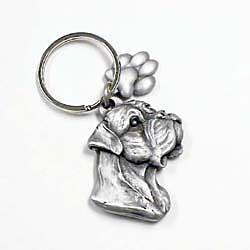 Key Companions Solid Fine Pewter BullMastiff with Paw Keychain