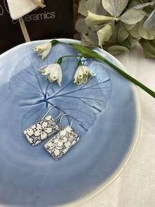 Blue and White Floral Print Small Rectangle Drop Earrings