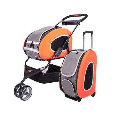Ibiyaya 5-in-1 Combo EVA Orange Pet Carrier-Stroller (Luxury package)