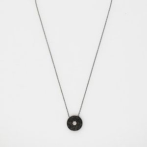 I Dream of Silver Black Circle Cubic Zirconia Necklace