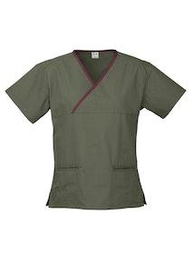 Boutique Medical Contrast Women's V-Neck Scrubs Top Ladies Hospital Dentist Nurse Uniform - Sage/Maroon