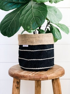 Pot Plant Cover - Onyx Stripe and Hessian Reversible