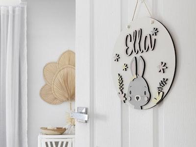 Asagai Gifts & Home Decor Round Door Sign Bunny