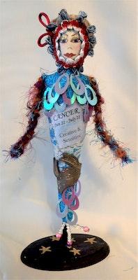 "Bambole Designs CANCER- ZODIAC Art Doll, One Of A Kind, 20 cm (8"") Tall, Cloth Dolls, Astology, Cancer star sign, Home decor, gift idea 2019"