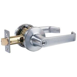 Lockwood 954SC commercial glass door function lever set in satin chrome plate finish