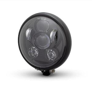 Bates Style Six Projector LED Headlight - Gloss Black