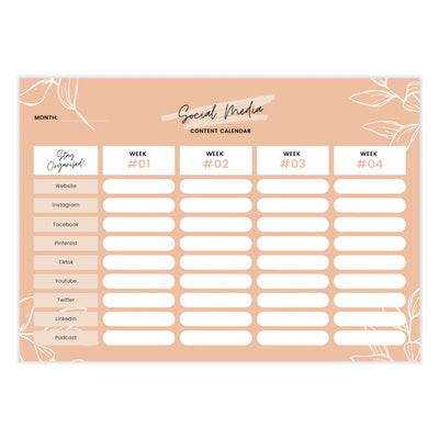 Aire Avenue Social Media Content Planner Notepad
