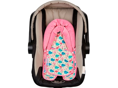 Keep Me Cosy™ Baby Head Support for Car Seat, Pram or Strollers (Twin Pack) - Flamingo