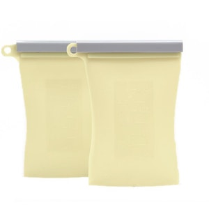 Junobie Reusable Silicone Breastmilk Storage Bags- 2pk (Buttermilk)