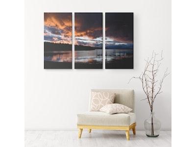 "Art Of A Kind Dusk Sunset Nature - 3 Piece Canvas Set 48x32"" (16x32"" ea.)"