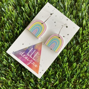 Rainbow Earrings - Glitter Rainbow Hoop Earrings - Adorable Silver Glitter Hand Painted Rainbow Hoop Earrings - In the Pastel Colour Way.