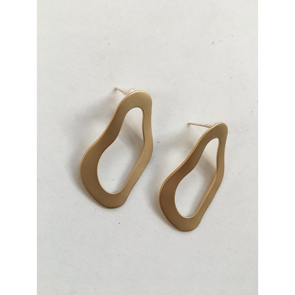 One of a Kind Club Abstract Matt Gold Earrings