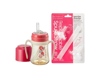 Mother-K PPSU Straw Bottle 200mL (Red) & Replacement Spout & Straw (2P) Set