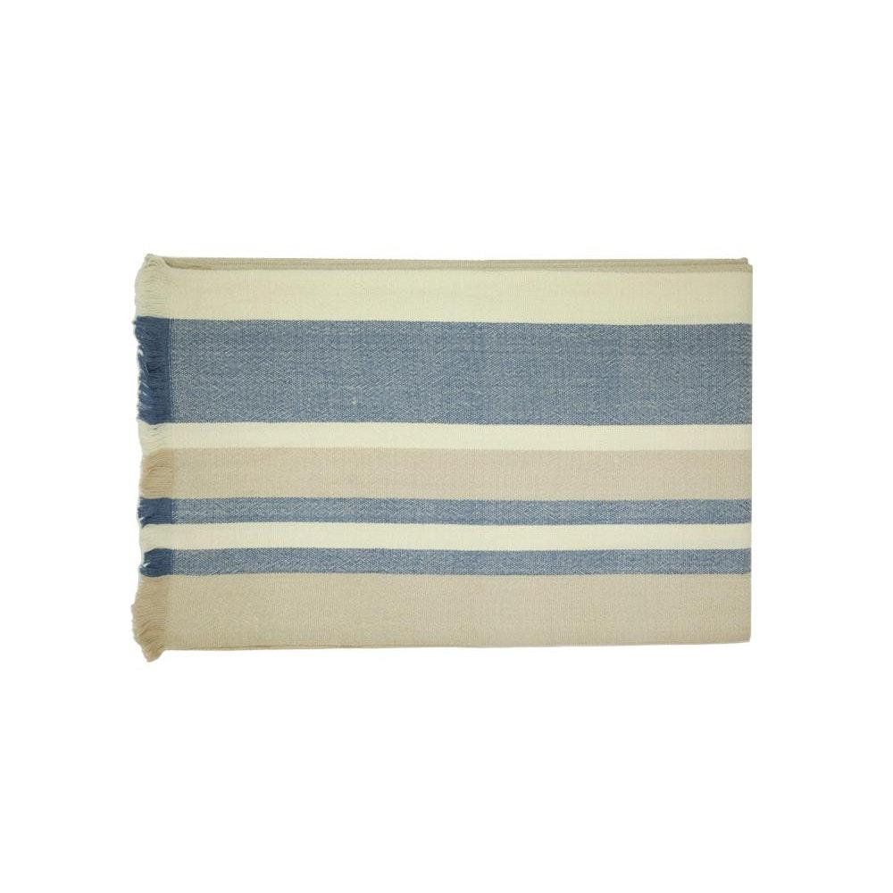 Birdie Fortescue Carinthia Wool Throw - Blue/taupe