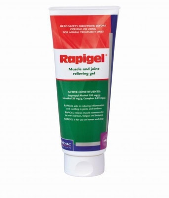 Virbac Rapigel Muscle and Joint Pain Sore Gel Horse Dog 200g Tube
