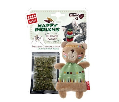 GIGWI Happy Indians Bear with Catnip Interactive Cat Toy