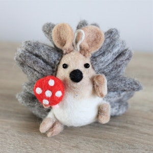 """Queenie's Pawprints Natural Wool Felted Cat Toy or Decoration """"Hedgehog with Mushroom"""""""