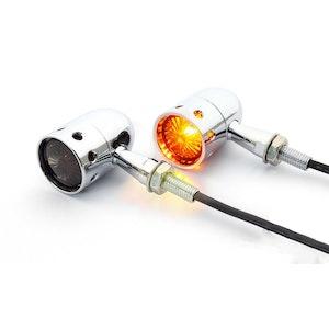 Chrome Nero Cafe Racer Bulb Type Indicators - Smoked Lens
