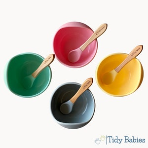Tidy Babies  Baby Silicone Suction Lip Bowl & Wooden Spoon Feeding Set