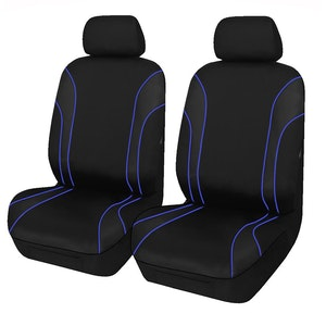 Universal Strident Front Seat Covers Size 30/35 | Blue Piping