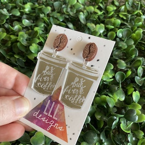 But First Coffee Statement Dangle Earrings Featuring Copper Glitter Coffee Bean Tops to make them POP!
