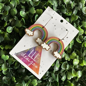 Rainbow Earrings. Hand Painted Timber Rainbow Hoop Earrings. (Cute Style/Pink)