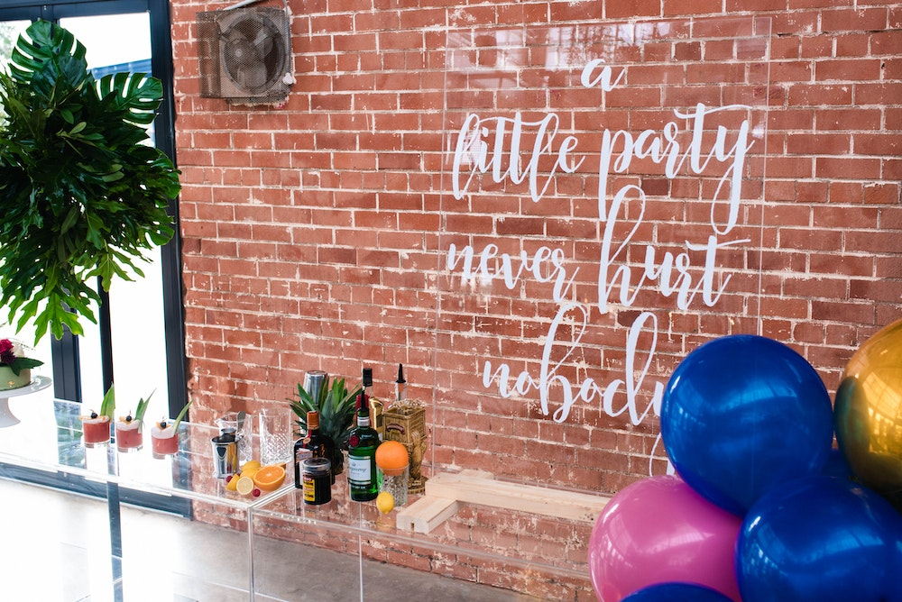 Modern Party Tropical Party Perspex Signage
