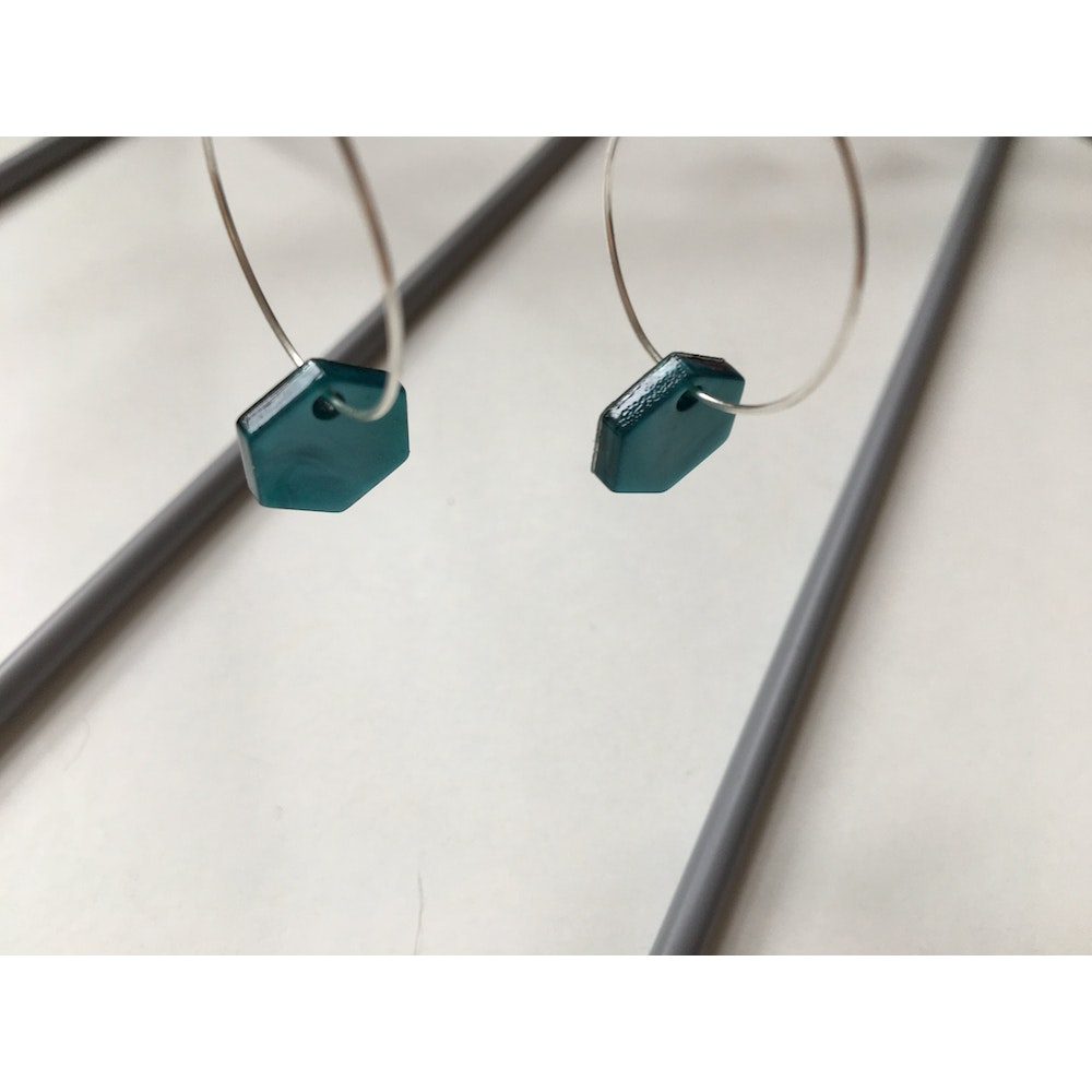 One of a Kind Club Green Hexagon Hoops