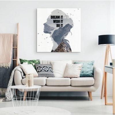 "Art Of A Kind Dream It, Wish It, Do It, Motivational Canvas Wall Art 8x8"""
