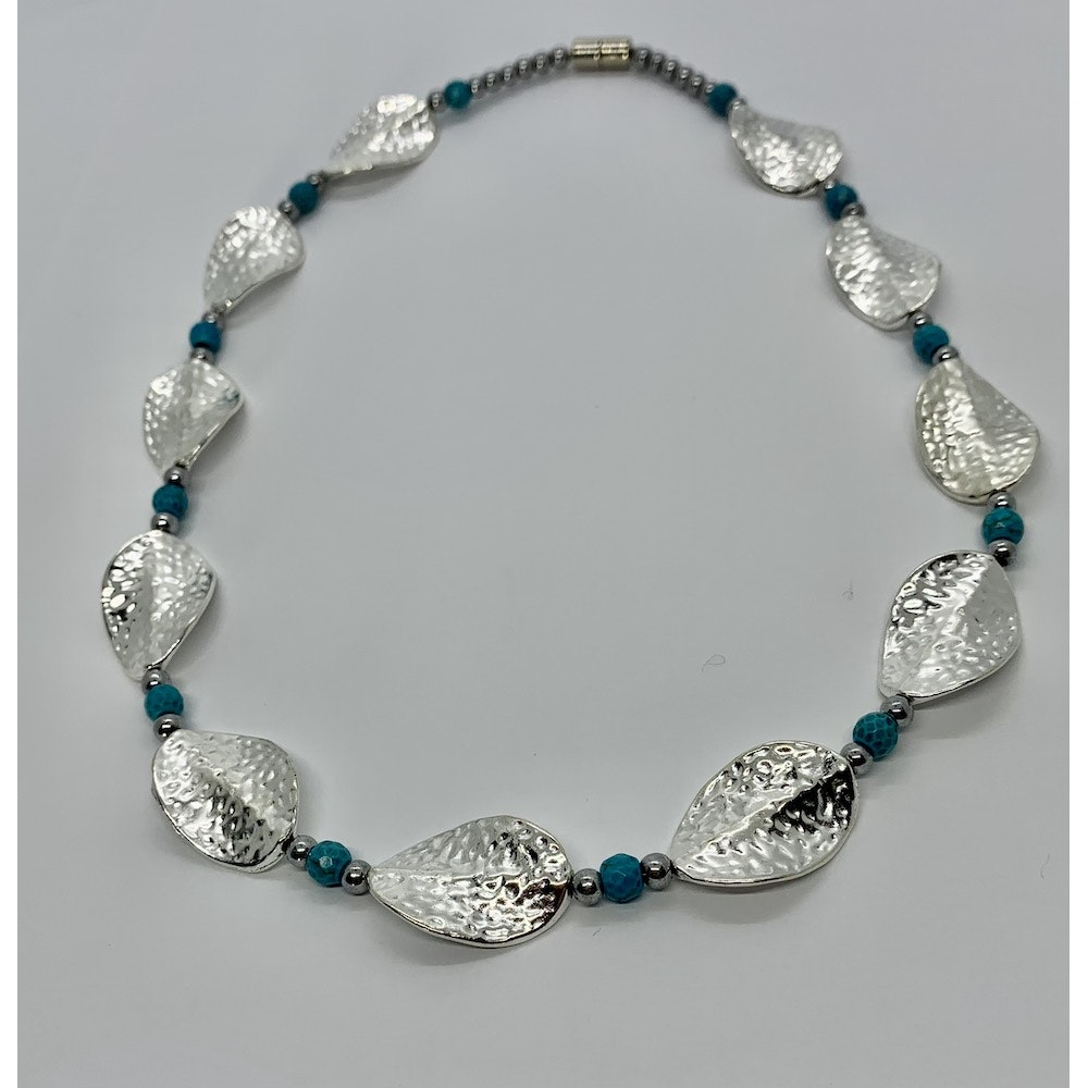 Fayre Maiden Silver Leaf And Howlite Necklace