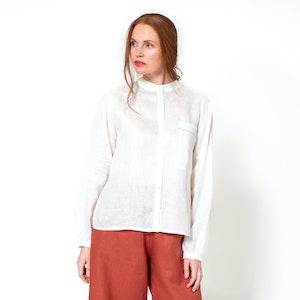 Linen Long Sleeve Shirt, White