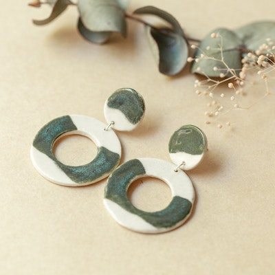 Sand and Fire Designs Blue and sage ceramic dangle earrings