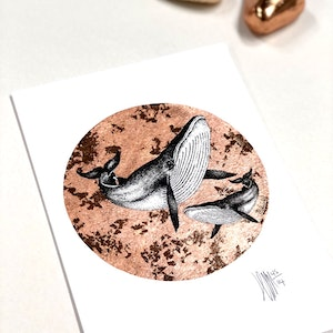 A5 'Wonderful Whales' Limited Edition Print with Hand-Applied Gold-Leaf Metals.