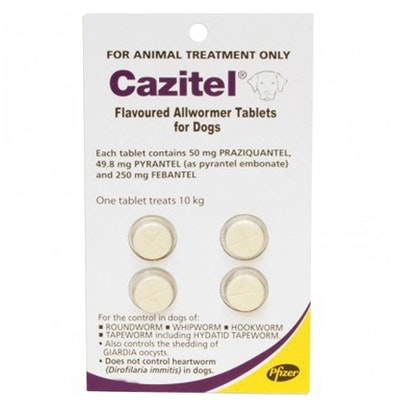 Pfizer Cazitel All Wormer for Dogs 10kg/Tablet x 4 Round Hook Whip Tape Worms