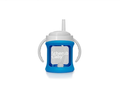 Wide Neck Glass Straw Cup with Colour Change Sleeve 150ml - Blue