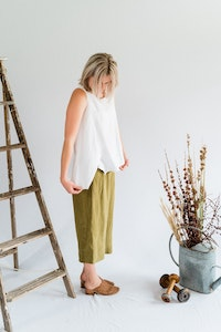 Flutter Top - Antique Washed Linen in White