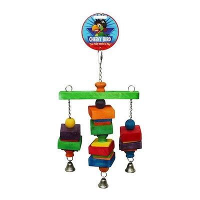 Cheeky Bird Hanging Tri-Bell Wooden Bird Toy Medium