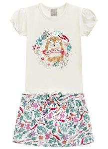 Milena Balcarcel Set Jersey T-shirt and Short Skirt