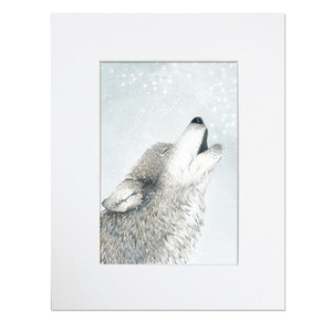 Sky Wolf Howling Wolf Print - Mounted in 20cm x 25cm Mount