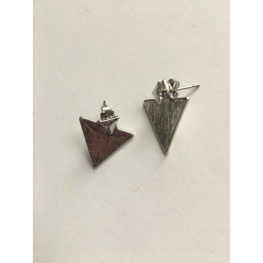 One of a Kind Club Silver Solid Textured Triangle Shaped Earrings